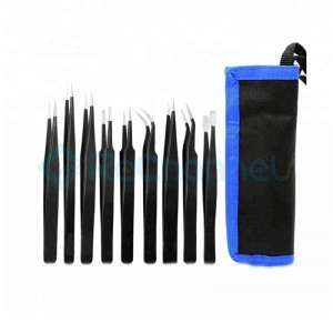 Precision Antistatic Tip Curved Straight Stainless Steel Tweezers Nipper Repair Tool (9 pcs)
