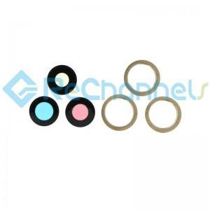 For iPhone 12 Pro/12 Pro Max Back Camera Lens and Bezel Replacement-Gold-Grade S+ (6 pcs/set)