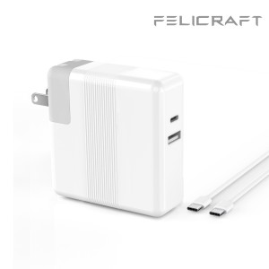 Felicraft For Charging MacBook Pro 13- inch (2016, 2017, 2018) 65W USB-C Wall Charger Replacement - White - Grade S+