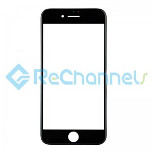For Apple iPhone 8 Glass Lens with Frame Replacement - Black - Grade S+