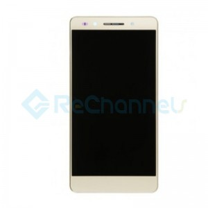 For Huawei Honor 7 LCD Screen and Digitizer Assembly with Front Housing Replacement - Gold - Grade S+