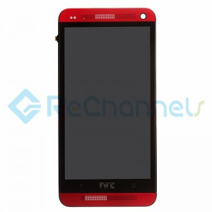 For HTC One LCD Screen and Digitizer Assembly with Front Housing Replacement - Red- Grade S+