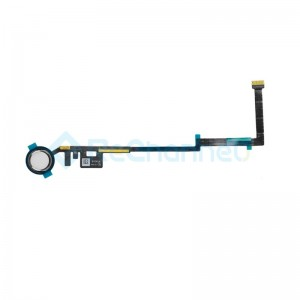 For iPad (6th Gen) Home Button Assembly with Flex Cable Ribbon Replacement - Silver - Grade R