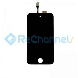 For Apple iPod Touch 4 LCD Screen and Digitizer Assembly with Frame Replacement - Black - Grade S