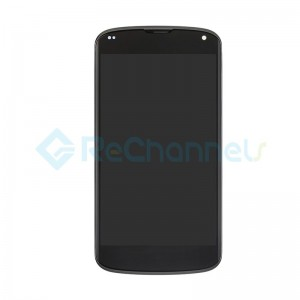 For LG Nexus 4 E960 LCD Screen and Digitizer Assembly with Front Housing Replacement - Black - Grade S+