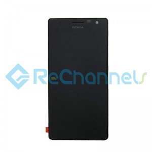 For Nokia Lumia 730 Dual SIM LCD Screen and Digitizer Assembly with Front Housing Replacement - Black - With Logo - Grade S+