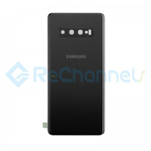 For Samsung Galaxy S10+ SM-G975 Battery Door with Adhesive Replacement - Prism Black - Grade R