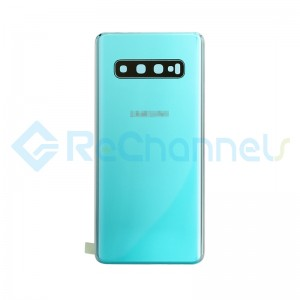 For Samsung Galaxy S10 SM-G973 Battery Door with Adhesive Replacement - Prism Green - Grade R