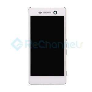 For Sony Xperia M5 LCD Screen and Digitizer Assembly with Front Housing Replacement - White -  Grade S
