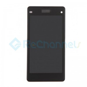 For Sony Xperia Z1 Compact LCD Screen and Digitizer Assembly with Front Housing Replacement - Black - Sony Logo - Grade S+
