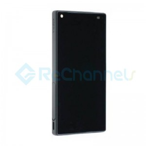For Sony Xperia Z5 Compact LCD Screen and Digitizer Assembly with Front Housing Replacement - Black - With Logo - Grade S+