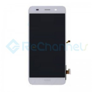 For Huawei Y6 LCD Screen and Digitizer Assembly with Front Housing Replacement - White - Grade S