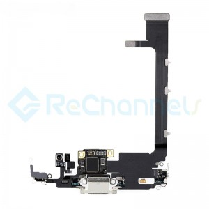 For Apple iPhone 11 Pro Max Charging Port Flex Cable Replacement - Silver - Grade S+