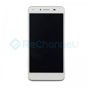 For Huawei Y6 II Compact LCD Screen and Digitizer Assembly with Front Housing Replacement - White - Grade S