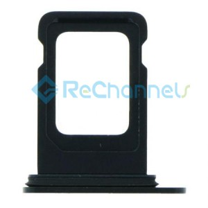 For iPhone 12 Sim Card Tray Replacement- Single Version-Black-Grade S+