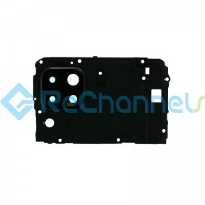For Huawei P40 Lite Motherboard Retaining Bracket with Camera Lens and Bezel Replacement - Black - Grade S+