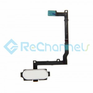 For Samsung Galaxy A9 (2016) Home Button With Flex Cable Ribbon Replacement - White - Grade S+