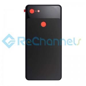 For Google Pixel 3 Battery Door Replacement (With Adhesive) - Black - Grade S+