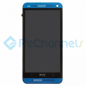 For HTC One LCD Screen and Digitizer Assembly with Front Housing Replacement - Blue - Grade S+