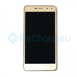 For Huawei Y6 LCD Screen and Digitizer Assembly with Front Housing Replacement - Gold - Grade S