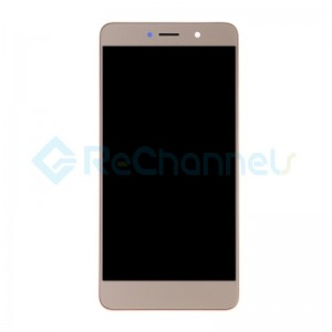 For Huawei Y7 2017 LCD Screen and Digitizer Assembly with Front Housing Replacement - Gold - Grade S+
