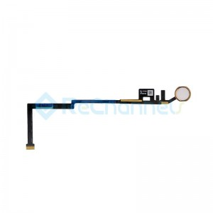For iPad (5th Gen) Home Button Assembly with Flex Cable Ribbon Replacement - Gold - Grade R