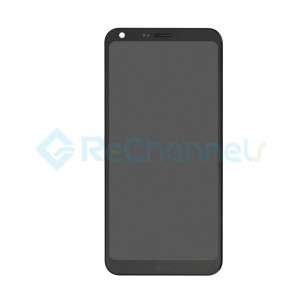 For LG Q6 LCD Screen and Digitizer Assembly with Front Housing Replacement - Black - With Logo - Grade S+