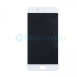 For Meizu M6 LCD Screen and Digitizer Assembly with Front Housing Replacement - White - Grade S