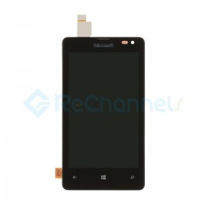 For Microsoft Lumia 435 LCD Screen and Digitizer Assembly with Front Housing Replacement - Black - Grade S+