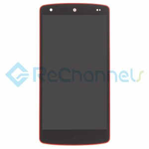For LG Nexus 5 D821 LCD Screen and Digitizer Assembly with Front Housing Replacement (No Small Parts, Red Mesh Cover) - Red - Grade S+
