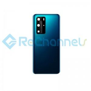 For Huawei P40 Pro Battery Door Replacement - Deep Sea Blue - Grade S+