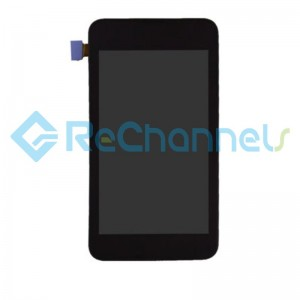 For Nokia Lumia 530 LCD Screen and Digitizer Assembly with Front Housing Replacement - Black - With Logo - Grade S+