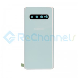 For Samsung Galaxy S10 SM-G973 Battery Door with Adhesive Replacement - Prism White - Grade R
