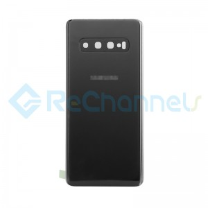 For Samsung Galaxy S10 SM-G973 Battery Door with Adhesive Replacement - Prism Black - Grade R