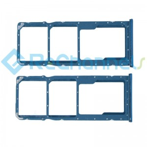 For Huawei Y9 (2019) SIM Card Tray Dual Card Version Replacement - Blue - Grade S+