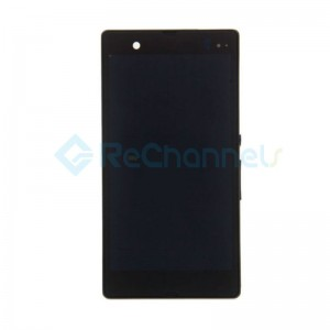 For Sony Xperia Z L36h LCD Screen and Digitizer Assembly with Front Housing Replacement - Gray -  Grade S
