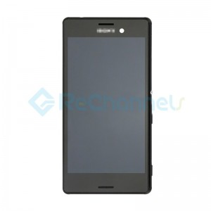 For Sony Xperia M4 Aqua LCD Screen and Digitizer Assembly with Front Housing Replacement - Black -  Grade S