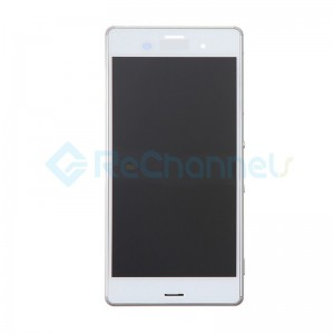 For Sony Xperia Z3 LCD Screen and Digitizer Assembly with Front Housing Replacement - White - Grade S+