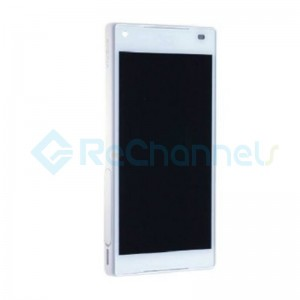For Sony Xperia Z5 Compact LCD Screen and Digitizer Assembly with Front Housing Replacement - White - With Logo - Grade S+