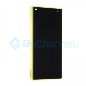 For Sony Xperia Z5 Compact LCD Screen and Digitizer Assembly with Front Housing Replacement - Yellow - With Logo - Grade S+