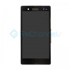 For Sony Xperia Z L36h LCD Screen and Digitizer Assembly with Front Housing Replacement - Black -  Grade S
