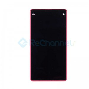 For Sony Xperia Z1 Compact LCD Screen and Digitizer Assembly with Front Housing Replacement - Pink - With Logo - Grade S+