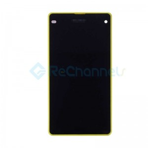 For Sony Xperia Z1 Compact LCD Screen and Digitizer Assembly with Front Housing Replacement - Yellow - With Logo - Grade S+